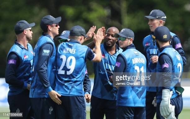 Daniel Bell-Drummond of Kent celebrates with his team mates after dismissing Nick Gubbins of MIddlesex during the Royal London One Day Cup match...