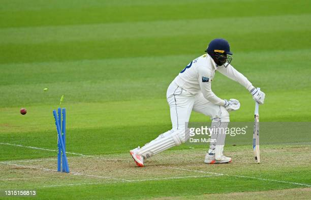 Daniel Bell-Drummond of Kent is bowled by Timm van der Gugten of Glamorgan during day one of the LV= County Championship match between Glamorgan and...