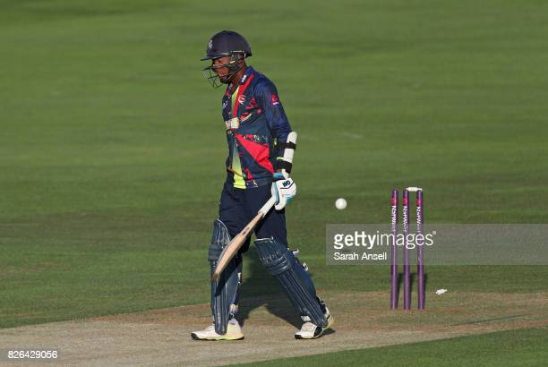 Daniel BellDrummond of Kent Spitfires is bowled by David Wiese of Sussex Sharks during the match between Kent Spitfires and Sussex Sharks at The...