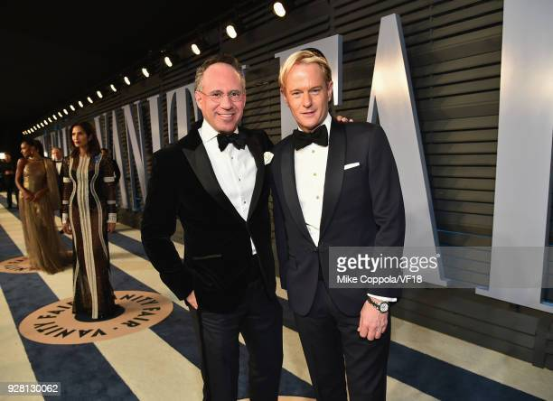 Daniel Benedict and Andrew Safir attends the 2018 Vanity Fair Oscar Party hosted by Radhika Jones at Wallis Annenberg Center for the Performing Arts...