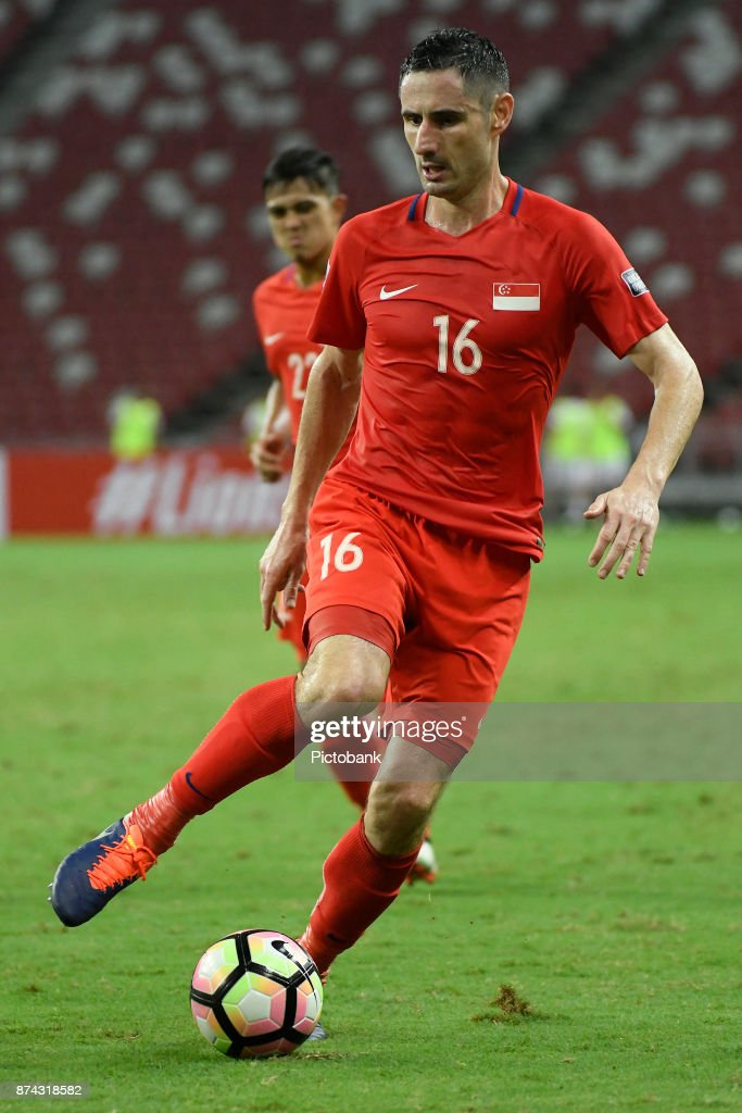 Daniel Bennett of Singapore in action during the Asian Cup Qualifier match between Singapore and Bahrain at the Singapore Sports Hub on November 14, 2017, in Singapore, Singapore.