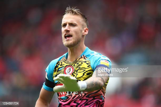 Daniel Bentley of Bristol City during the Sky Bet Championship match between Bristol City and Blackpool at Ashton Gate on August 7, 2021 in Bristol,...