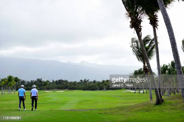 Daniel Berger and Chris Kirk walk the second hole during the second round of the Puerto Rico Open at Coco Beach Golf and Country Club on February 22...