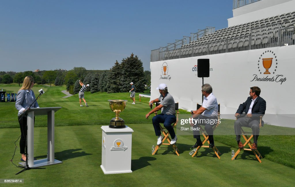 Daniel Berger and Jordan Spieth play shots off the first tee as Presidents Cup Captain Steve Stricker and Nick Price watch during the Presidents Cup media day at Liberty National Golf Club, host course of the 2017 Presidents Cup in Jersey City, New Jersey on August 21, 2017.