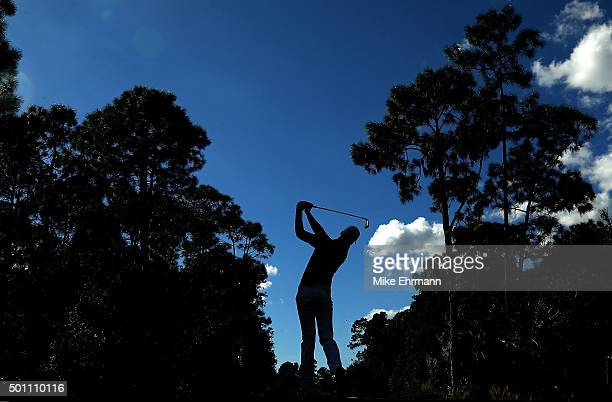 Daniel Berger hits his tee shot on the seventh hole during the final round of the Franklin Templeton Shootout at Tiburon Golf Club on December 12...
