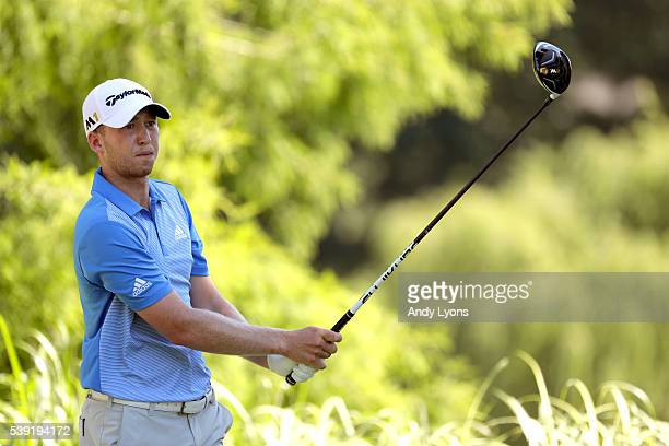 Daniel Berger hits off the 12th tee during the second round of the FedEx St Jude Classic at TPC Southwind on June 10 2016 in Memphis Tennessee
