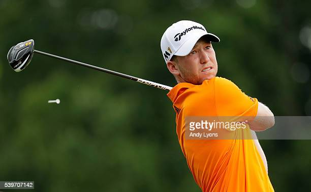 Daniel Berger hits off the second tee during the final round of the FedEx St Jude Classic at TPC Southwind on June 12 2016 in Memphis Tennessee