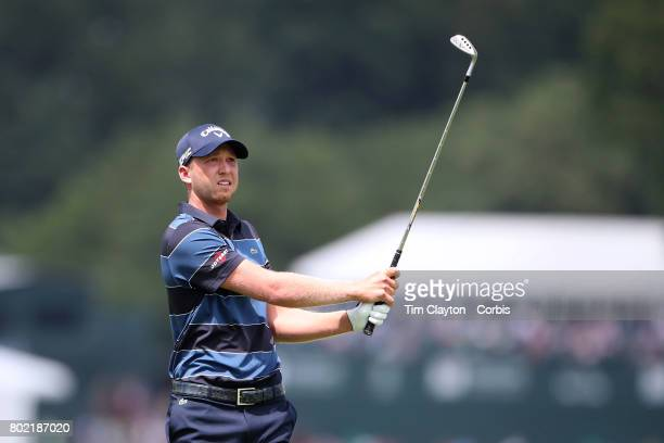 Daniel Berger in action during the fourth round of the Travelers Championship Tournament at the TPC River Highlands Golf Course on June 25th 2017 in...
