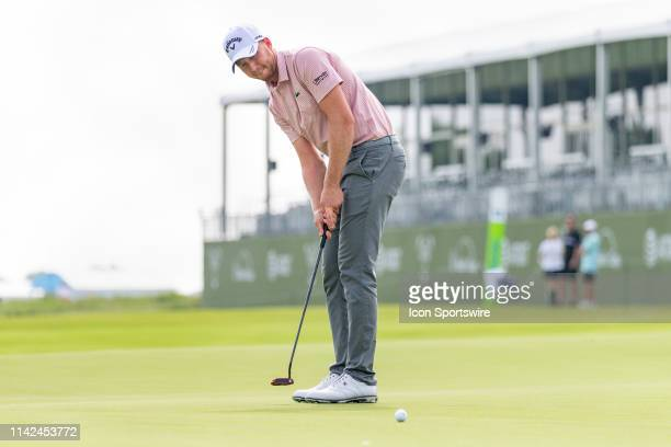 Daniel Berger just misses his birdie putt on the 18th green during the first round of the ATT Byron Nelson on May 9 2019 at Trinity Forest Golf Club...