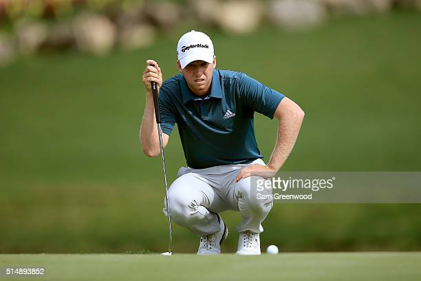 Daniel Berger lines up a putt on the 14th green during the second round of the Valspar Championship at Innisbrook Resort Copperhead Course on March...