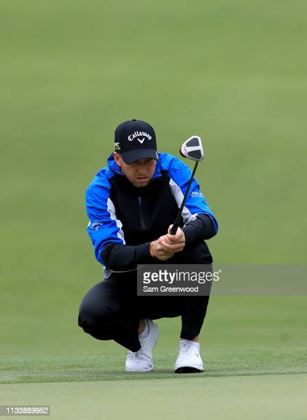 Daniel Berger looks over a shot during a practice round prior to the Arnold Palmer Invitational Presented By MasterCard at Bay Hill Club and Lodge on...