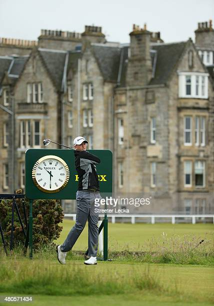 Daniel Berger of the United States hits from two tee during a practice round ahead of the 144th Open Championship at The Old Course on July 13 2015...