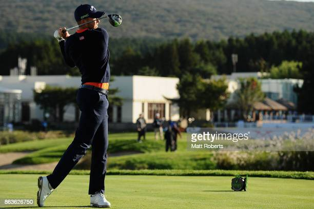 Daniel Berger of the United States hits his tee shot on the 10th hole during the second round of the CJ Cup at Nine Bridges on October 20 2017 in...