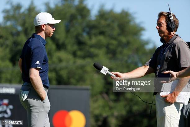 Daniel Berger of the United States is interviewed after defeating Collin Morikawa of the United States during a playoff on the 17th green to win...