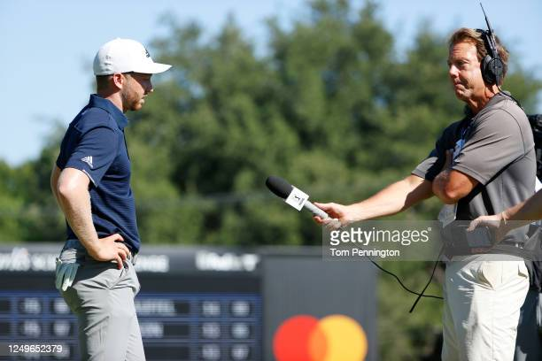 Daniel Berger of the United States is interviewed after defeating Collin Morikawa of the United States during a playoff during the final round of the...