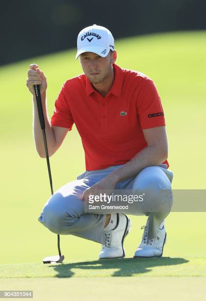 Daniel Berger of the United States lines up a putt on the tenth green during round two of the Sony Open In Hawaii at Waialae Country Club on January...