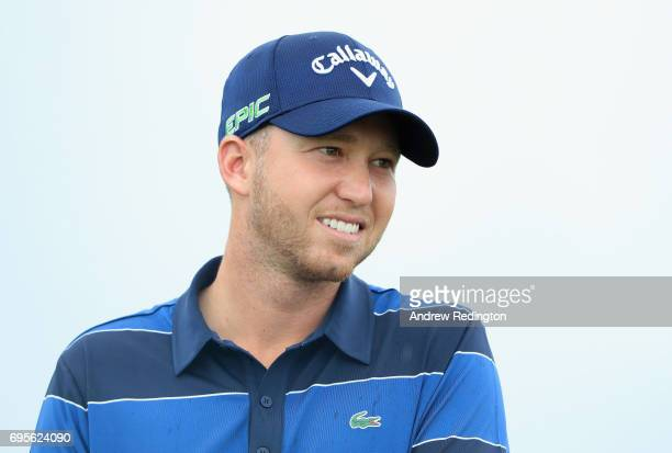 Daniel Berger of the United States on the 10th hole during a practice round prior to the 2017 US Open at Erin Hills on June 13 2017 in Hartford...