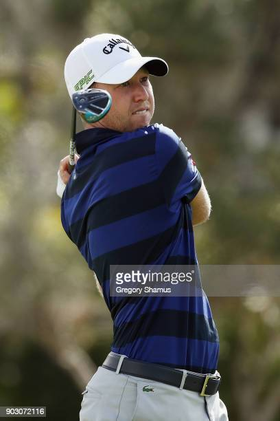 Daniel Berger of the United States plays a shot during practice rounds prior to the Sony Open In Hawaii at Waialae Country Club on January 9 2018 in...