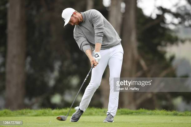 Daniel Berger of the United States plays a shot from the fourth tee during the third round of the 2020 PGA Championship at TPC Harding Park on August...