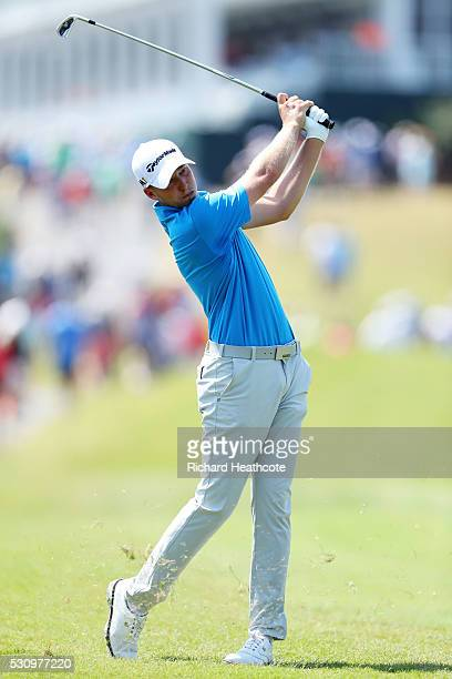 Daniel Berger of the United States plays a shot on the 18th hole during the first round of THE PLAYERS Championship at the Stadium course at TPC...