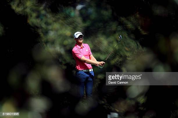 Daniel Berger of the United States plays a shot on the fifth hole during the first round of the 2016 Masters Tournament at Augusta National Golf Club...