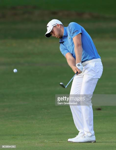 Daniel Berger of the United States plays a shot on the tenth hole during round one of the Sony Open In Hawaii at Waialae Country Club on January 11...