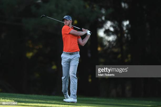 Daniel Berger of the United States plays his second shot on the 3rd hole during the third round of the CJ Cup at Nine Bridges on October 21 2017 in...