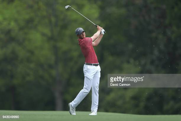 Daniel Berger of the United States plays his second shot on the fifth hole during the third round of the 2018 Masters Tournament at Augusta National...