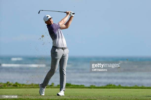 Daniel Berger of the United States plays his shot from the 17th tee during the first round of the Sony Open in Hawaii at the Waialae Country Club on...