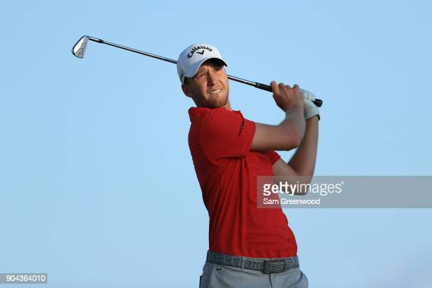 Daniel Berger of the United States plays his shot from the 17th tee during round two of the Sony Open In Hawaii at Waialae Country Club on January 12...