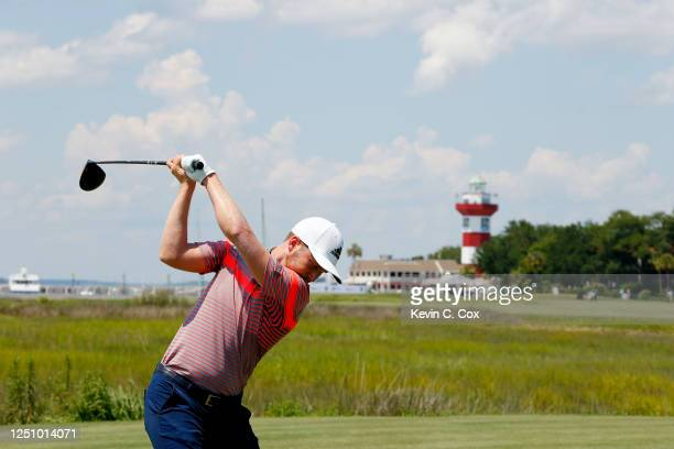 Daniel Berger of the United States plays his shot from the 18th tee during the third round of the RBC Heritage on June 20 2020 at Harbour Town Golf...