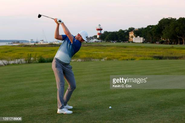 Daniel Berger of the United States plays his shot from the 18th tee during the final round of the RBC Heritage on June 21 2020 at Harbour Town Golf...