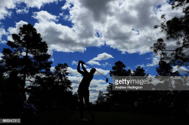 Daniel Berger of the United States plays his shot from the ninth tee during the first round of the 2017 Masters Tournament at Augusta National Golf...