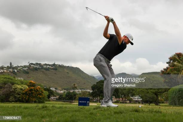 Daniel Berger of the United States plays his shot from the seventh tee during the final round of the Sony Open in Hawaii at the Waialae Country Club...