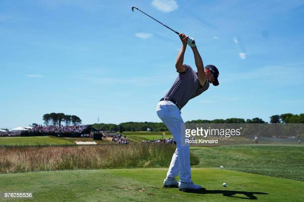 Daniel Berger of the United States plays his shot from the seventh tee during the third round of the 2018 US Open at Shinnecock Hills Golf Club on...