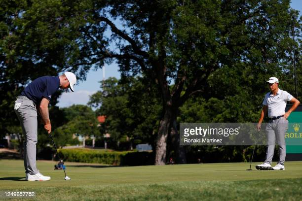 Daniel Berger of the United States putts on the 17th green during a playoff against Collin Morikawa of the United States during the final round of...