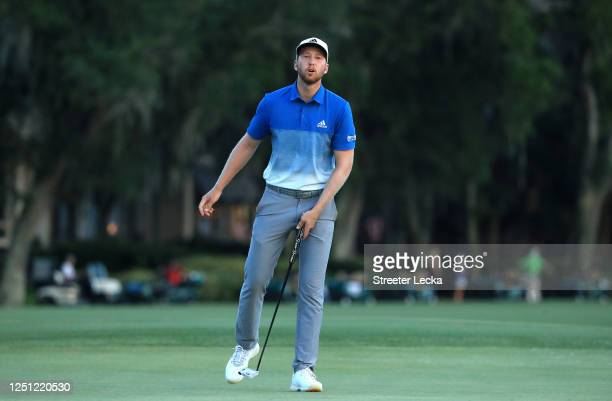 Daniel Berger of the United States reacts on the 18th green during the final round of the RBC Heritage on June 21 2020 at Harbour Town Golf Links in...