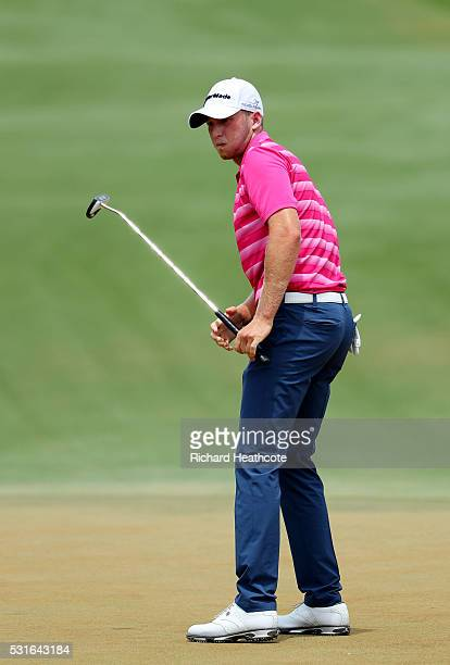 Daniel Berger of the United States reacts on the second green during the final round of THE PLAYERS Championship at the Stadium course at TPC...