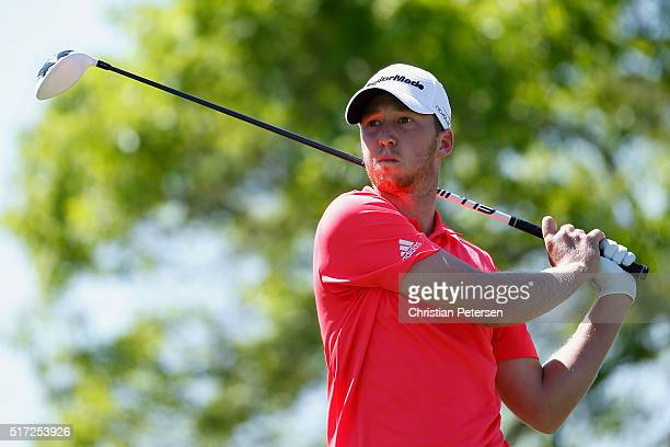 Daniel Berger of the United States watches his tee shot on the sixth hole during the second round of the World Golf ChampionshipsDell Match Play at...