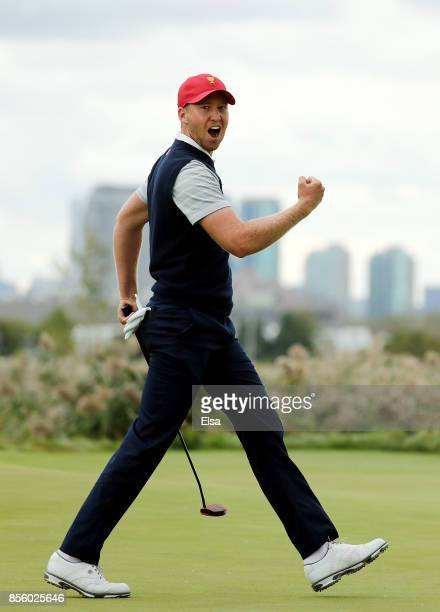 Daniel Berger of the US team celebrates on the 10th green during Saturday fourball matches of the Presidents Cup at Liberty National Golf Club on...