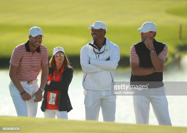 Daniel Berger of the US Team girlfriend Erica Herman Tiger Woods Captains Assistant of the US Team and Steve Stricker Captain of the US Team on the...