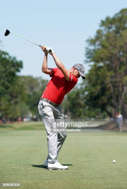 Daniel Berger of the USA in action during the second round of THE PLAYERS Championship on the Stadium Course at TPC Sawgrass on May 11 2018 in Ponte...