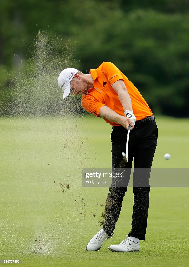 Daniel Berger plays a shot on the seventh hole during the final round of the FedEx St. Jude Classic at TPC Southwind on June 12, 2016 in Memphis, Tennessee.