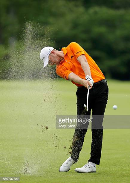 Daniel Berger plays a shot on the seventh hole during the final round of the FedEx St Jude Classic at TPC Southwind on June 12 2016 in Memphis...