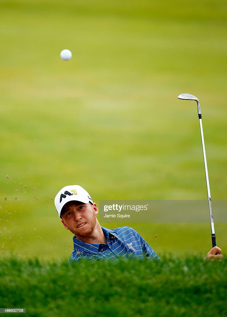 Daniel Berger plays his second shot on the 15th hole during the Second Round of the BMW Championship at Conway Farms Golf Club on September 18, 2015 in Lake Forest, Illinois.