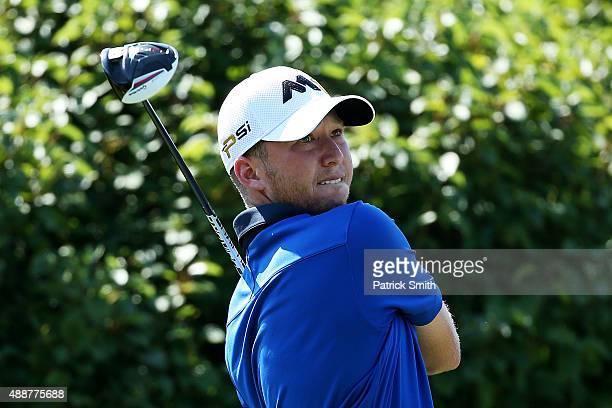Daniel Berger plays his shot from the 13th tee during the First Round of the BMW Championship at Conway Farms Golf Club on September 17 2015 in Lake...