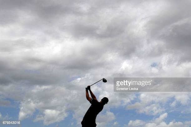 Daniel Berger plays his shot from the third tee during round two of the Wells Fargo Championship at Eagle Point Golf Club on May 5 2017 in Wilmington...