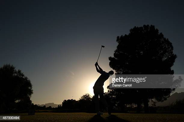 Daniel Berger plays his tee shot on the 16th hole during the first round of the Shriners Hospitals For Children Open at TPC Summerlin on October 16...