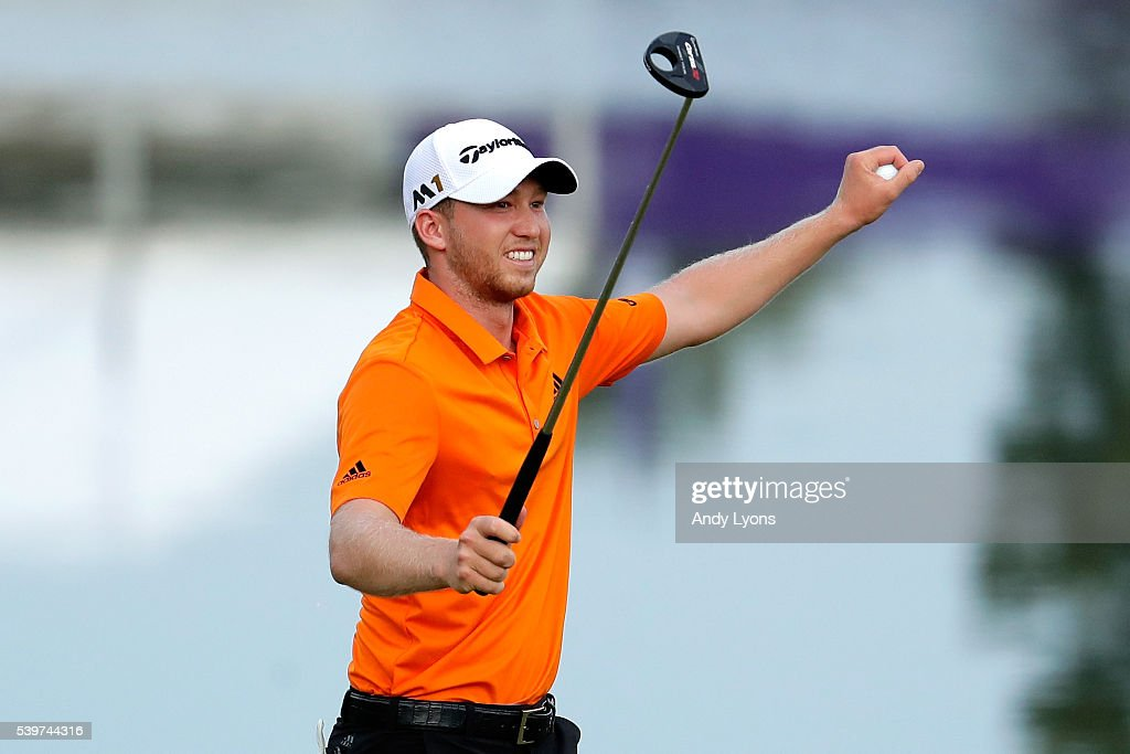 Daniel Berger reacts after winning the FedEx St. Jude Classic during the final round at TPC Southwind on June 12, 2016 in Memphis, Tennessee. Berger finished with a score of -13.