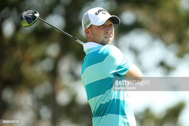 Daniel Berger tees off on the 2nd hole of his match during round two of the World Golf ChampionshipsDell Technologies Match Play at the Austin...